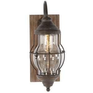 Wood and Metal Caged LED Sconce