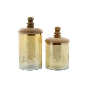 Glass Jars w/Lids - Set of 2