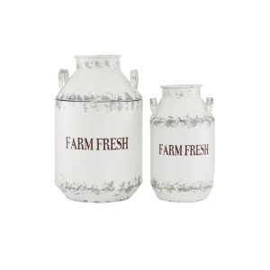 Metal White Milk Cans - Set of 2