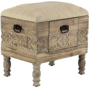 Wood Stool With Drawer