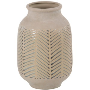 Grey and Cream Chevron Ceramic Vase