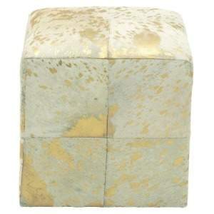 Leather Hide Gold Ottoman
