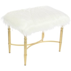 Metal Faux Fur Stool