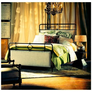 Curated Upholstered Metal Bed (Queen)