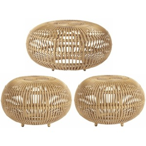 3 PC Rattan Scatter Table Set