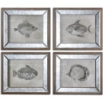 Mirrored Fish Framed Prints  S/4