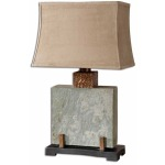 Slate, Square, Table Lamp