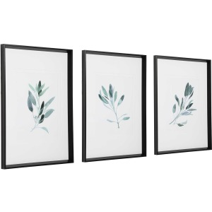 Simple Sage Framed Prints, S/3