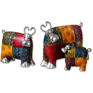 Colorful Cow Figurines - Set of 3