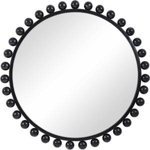 Cyra Black Round Mirror