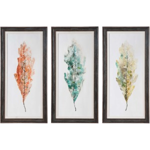 Tricolor Leaves Hand Painted Canvases - Set of 3