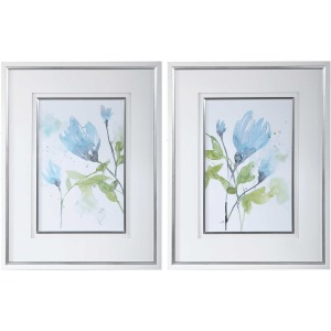 Cerulean Splash Framed Prints, Set of 2