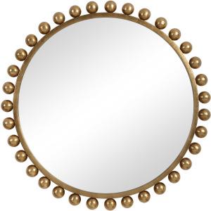 Cyra Gold Round Mirror