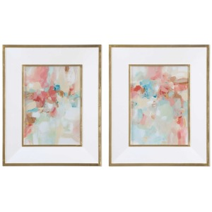 A Touch of Blush & Rosewood Fences Framed Print S/2
