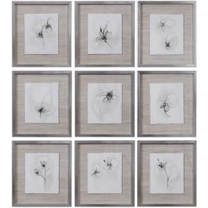 Neutral Floral Gestures Framed Prints S/9