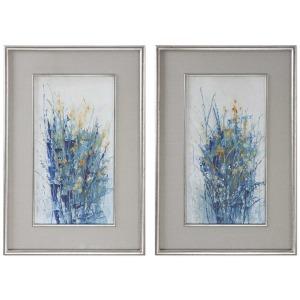Indigo Florals Framed Prints S/2