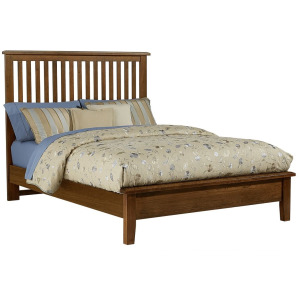 Artisan Choices Cal King Slat Bed with Low Profile Footboard - Dark Cherry