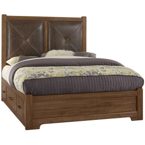 Cool Rustic Queen Leather Bed w/1 Sided Storage -Amber