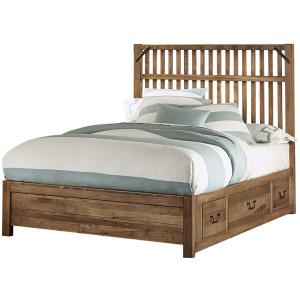 Sedgwick-Natural Maple King Elevator Slat Bed With 2 Sides Storage