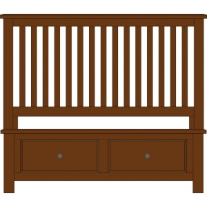 Artisan Choices-Dark Oak Queen Slat Bed With Footboard Storage