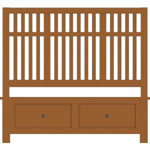 Artisan Choices-Amish Cherry Queen Craftsman Slat Bed With Footboard Storage