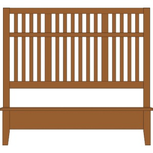 Artisan Choices-Amish Cherry Queen Craftsman Slat Bed With Low Profile Footboar