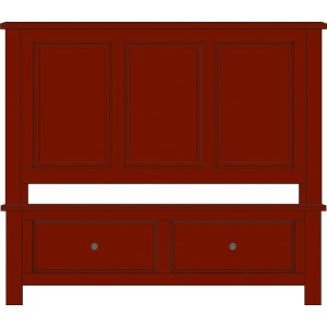 Artisan Choices-Dark Cherry King Panel Bed With Footboard Storage