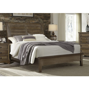 Artisan Choices Cal King Sleigh Bed with Low Profile Footboard - Dark Oak
