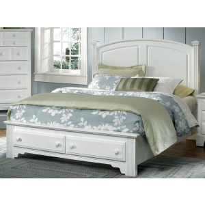 Barnburner Full Panel Bed with Storage Footboard -Snow White