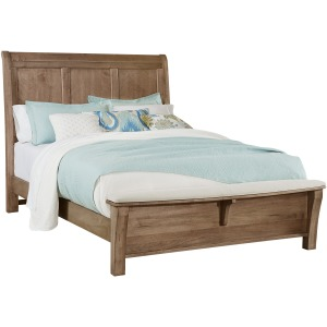 Chestnut Creek-Fawn King Sleigh Bed With Bench Footboard