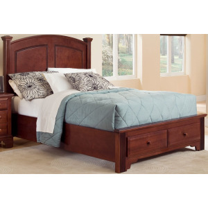 Barnburner Full Panel Bed with Storage Footboard -Cherry