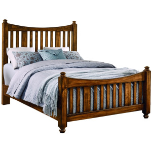 Maple Road-Antique Amish Queen Slat Poster Bed With Slat Poster Footboard