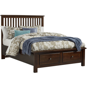 Artisan Queen Slat Bed with Footboard Storage - Dark Cherry