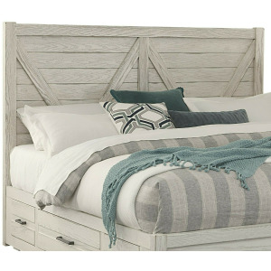 Highlands-Aged White V Queen Panel Headboard
