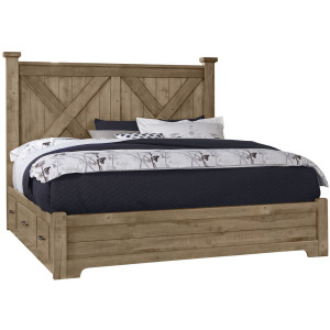 Cool Rustic Queen X Bed w/1 Sided Storage -Natural