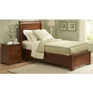 Twin Youth Sleigh Bed with Storage Footboard