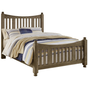 Maple Road-Weathered Gray King Slat Poster Bed With Slat Poster Footboard