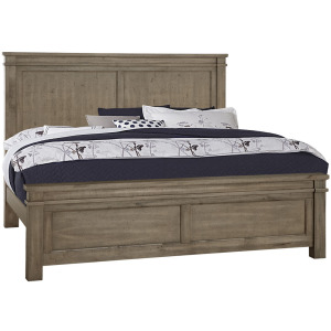 Cool Rustic Queen Mansion Bed with Platform Base -Stone Grey