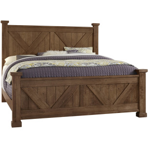 Cool Rustic King X Bed with X Footboard -Amber