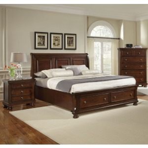 King Sleigh Bed w/Storage Footboard