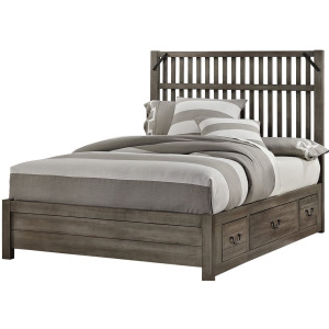 Sedgwick Queen Elevator Slat Bed with 2 Sides Storage - Earl Grey