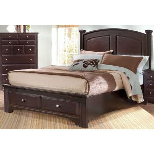 Barnburner Full Panel Bed with Storage Footboard -Merlot