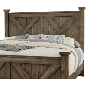 Cool Rustic King X Bed - Mink