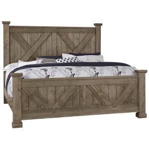 Cool Rustic Queen X Bed with X Footboard -Stone Grey