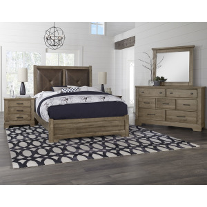 Cool Rustic King Leather Bed with Low Profile Footboard -Stone Grey