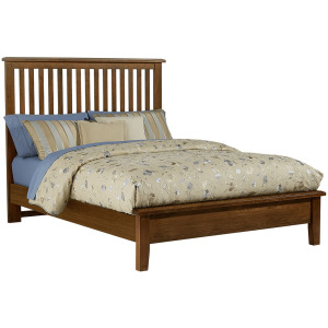 Artisan Choices-Amish Cherry Queen Slat Bed With Low Profile Footboard