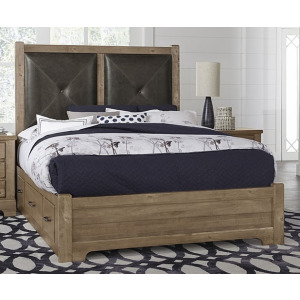 Cool Rustic King Leather Bed w/1 Sided Storage -Natural