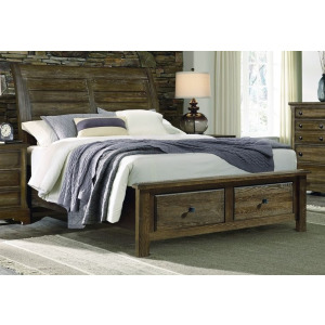 Artisan Choices Queen Sleigh Bed with Low Profile Footboard - Dark Oak