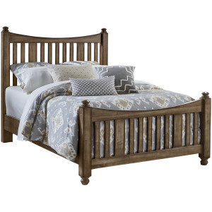 Maple Road King Slat Poster Bed with Slat Poster Footboard - Maple Syrup