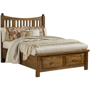 Maple Road King Slat Poster Bed with Storage Footboard - Antique Amish
